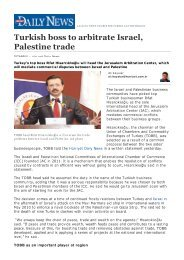 ECONOMICS - Turkish boss...Israel, Palestine trade - Tobb