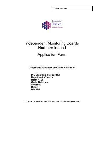 independent-monitoring-boards-northern-ireland-application-form Job Application Form Northern Ireland on part time, blank generic, free generic,