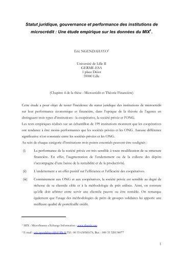 Statut juridique, gouvernance et performance des institutions - CEREG