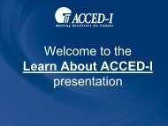 Welcome to the Learn About ACCED-I presentation