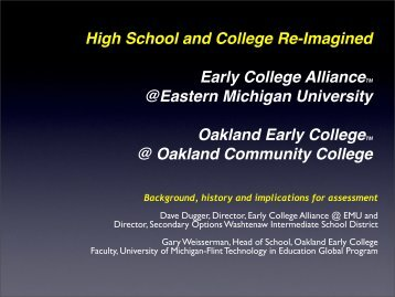Oakland Early College - Michigan Institute for Educational ...