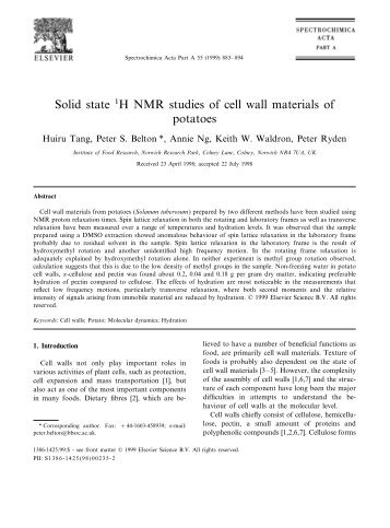 Solid state 1H NMR studies of cell wall materials of potatoes