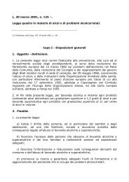 Legge quadro in materia di alcol e di problemi ... - Comune di Prato