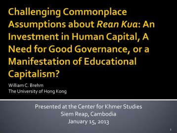 Challenging Commonplace Assumptions about Rean Kua: An ...