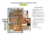 The Gardens Premium Unit –2 Bedroom/1 Bath Apartment (Style C)