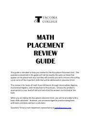 MATH PLACEMENT REVIEW GUIDE - Tacoma Community College
