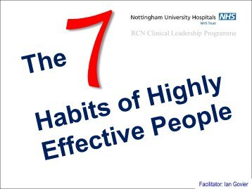 The 7 Habits of Highly Effective People - CTR training and consultancy