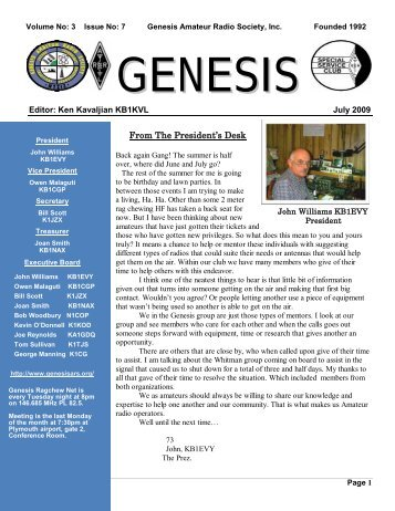 From The President's Desk - Genesis Amateur Radio Society