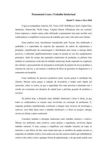 Pensamento Lean e Trabalho Intelectual - Lean Institute Brasil