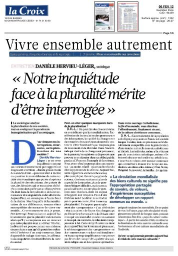 Lire l'article sur le journal La Croix, page 5 - Église Catholique d ...