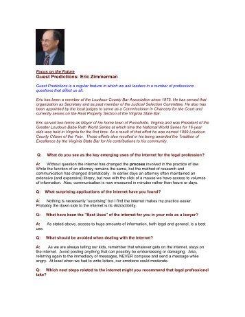 Guest Predictions: Eric Zimmerman - The Regis Group Inc