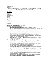 U.S. History 7 Nolan Review Sheet: Chapters 20 ... - Nichols School