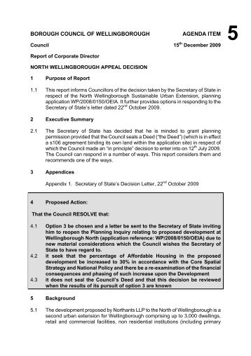 Committee Report Template - March 09 - Wellingborough Borough ...