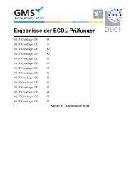 Ergebnisse der ECDL-Prüfungen