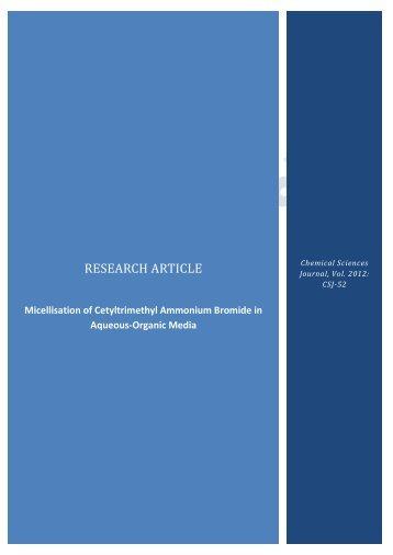 Micellisation of Cetyltrimethyl Ammonium Bromide ... - AstonJournals