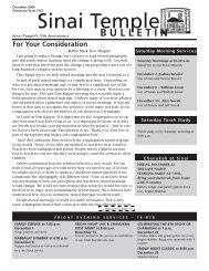 December 2006 Bulletin - Sinai Temple