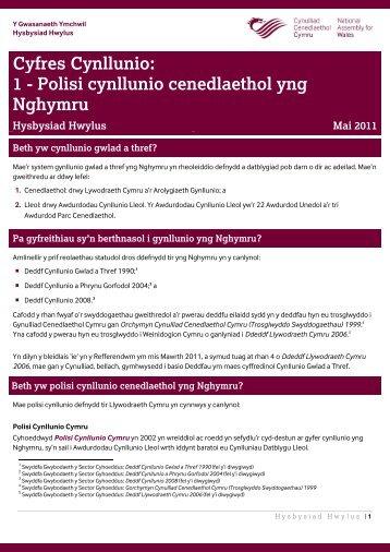 Polisi cynllunio cenedlaethol yng Nghymru - National Assembly for ...