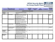 HIPAA Security Matrix for Group Health Plans - The Alliance