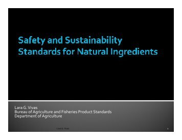 Safety and Sustainability Standards for Natural Ingredients