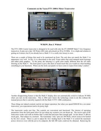 Comments on the Yaesu FTV-1000 6 Meter Transverter W3RJW ...