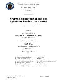 Analyse de performances des systèmes basés composants