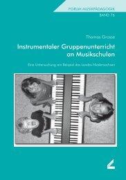 Instrumentaler Gruppenunterricht an Musikschulen - Wißner-Verlag
