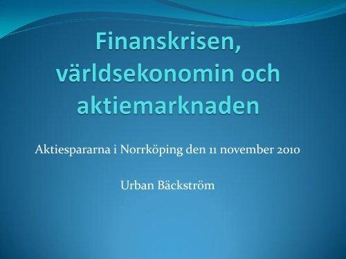 Stora Aktiekvällen Urban Bäckström Norrköping nov - Aktiespararna