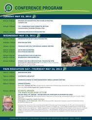 Conference Program 2012 - The Canadian Pain Society