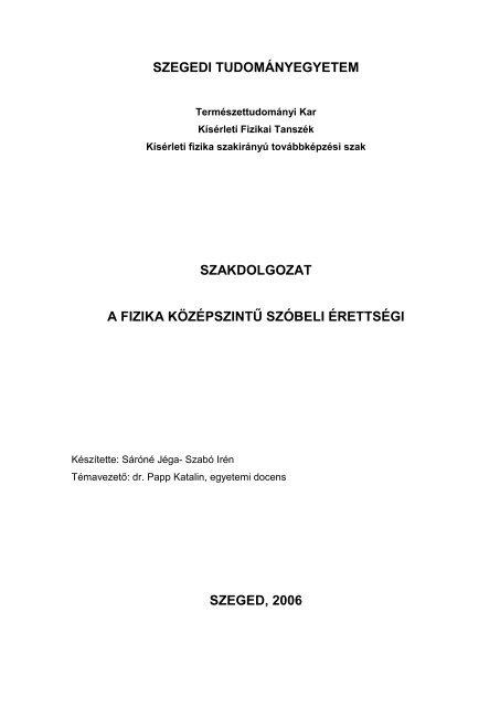 a fizika középszintű szóbeli érettségi - Szegedi Tudományegyetem