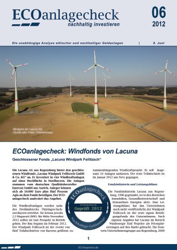 Lacuna Windpark ECOanlagecheck - VCD Service GmbH