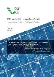 DM 5 maggio 2011 quarto Conto Energia CATALOGO ... - Gse