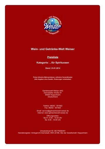 Preisliste für Kategorie: ...für Spirituosen - und Getränke-Welt Weiser