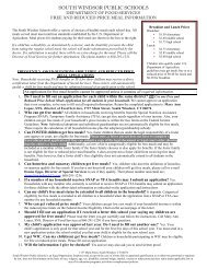 Free and reduced application. - South Windsor Public Schools