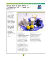 Health enhancing properties of whey proteins and whey fractions
