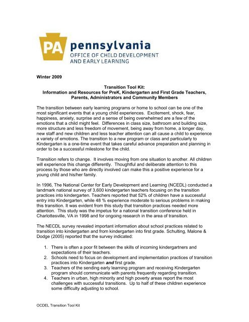 Introduction Letter from OCDEL - New Hope-Solebury School District