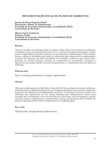 IMPLEMENTAÇÃO EFICAZ DE PLANOS DE MARKETING - Unisantos