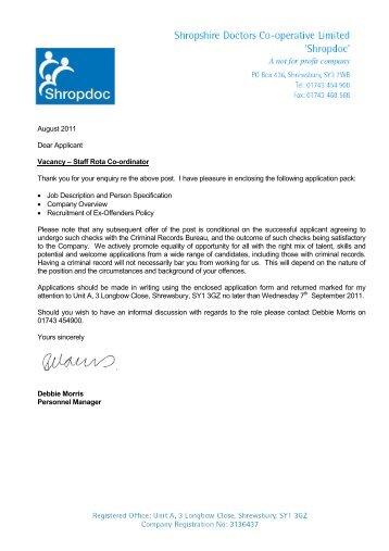 Job Description For Staff Rota Co Ordinator Sept 2011   ShropDoc  Caseworker Job Description