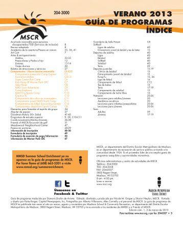 verano 2013 guía de programas índice - Madison Metropolitan ...
