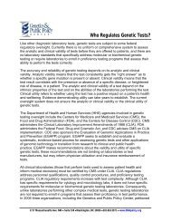 Who Regulates Genetic Tests? - Genetics & Public Policy Center