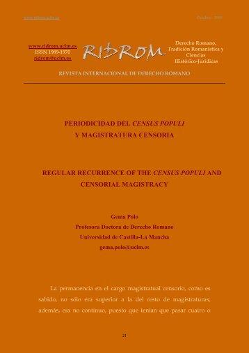 periodicidad del census populi y magistratura censoria - revista ...