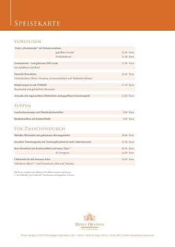 Speisekarte - Hotel Oranien