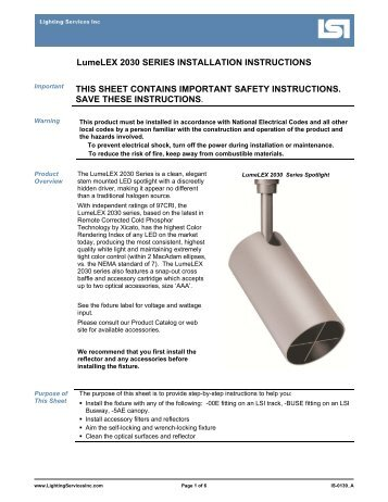 LSI Instruction Sheet - Lighting Services Inc