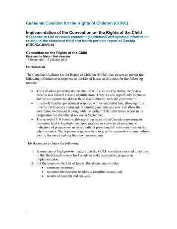 CCRC Response to List of Issues from UN Committee - Canadian ...
