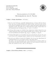 Musterlösung zur 9.¨Ubung - Universität des Saarlandes