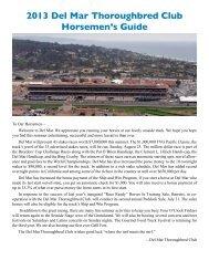 Read the 2013 Horsemen's Guide - Del Mar Thoroughbred Club