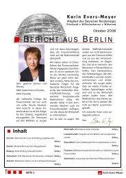 Bericht aus Berlin Oktober 2008 - Karin Evers-Meyer