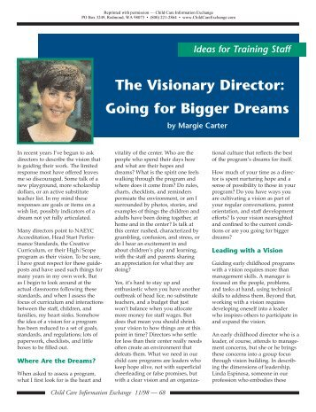 The Visionary Director - McCormick Center for Early Childhood ...