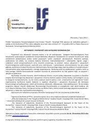 Więcej informacji - Instytut Filozofii i Socjologii PAN