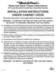 under cabinet range hood installation instructions - US Appliance