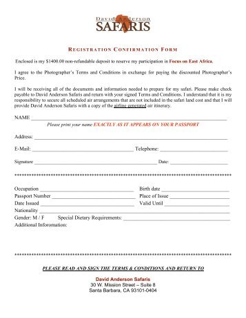 & Conditions And Registration Form - Pdf - Focus On Planet Earth